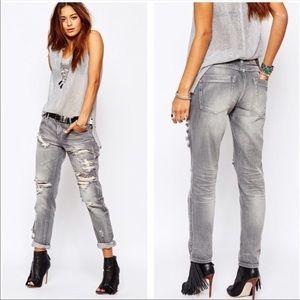 One Teaspoon distress gray chalk baggy denim jeans